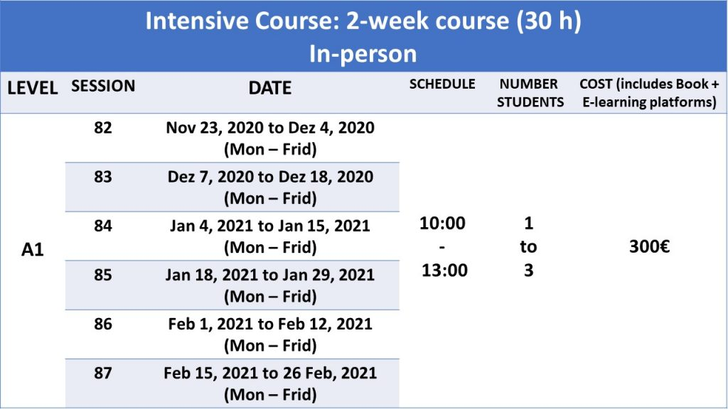 2 week portuguese course intensive in-person