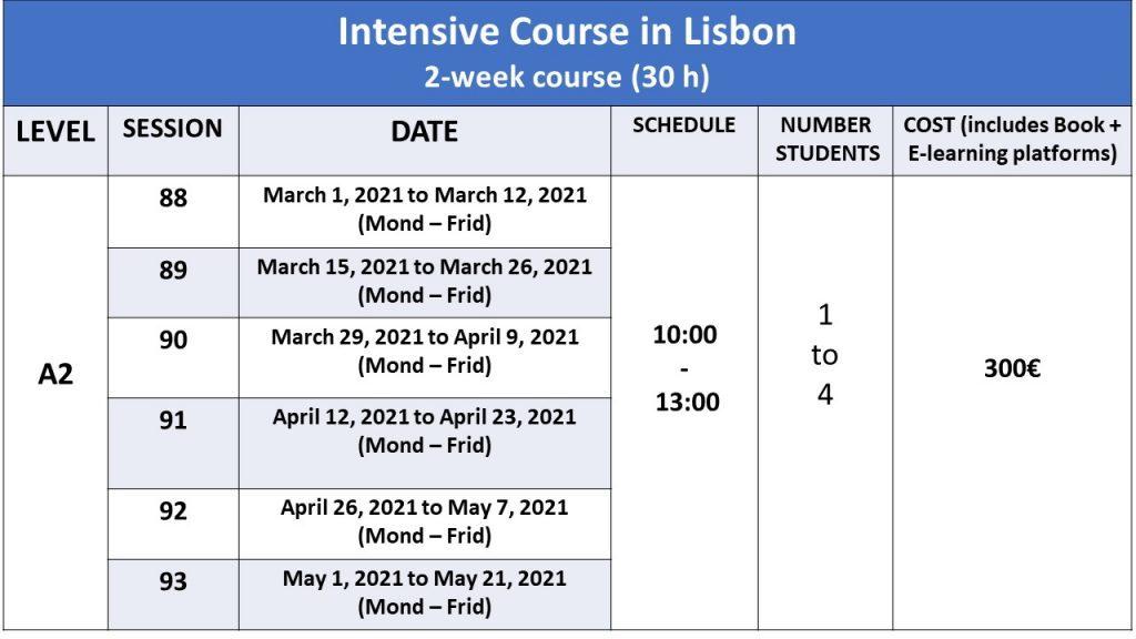 level a2 portuguese courses dates for 2021