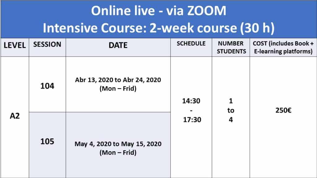 intensive course level A1 online lisbon language café