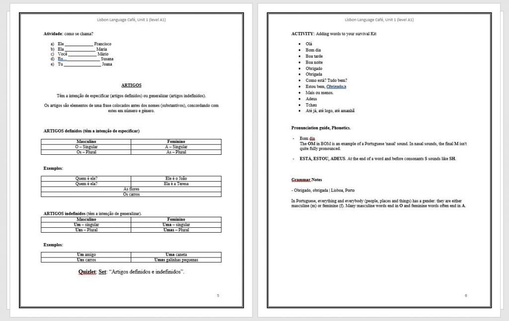 Level A1 book pages 4 5