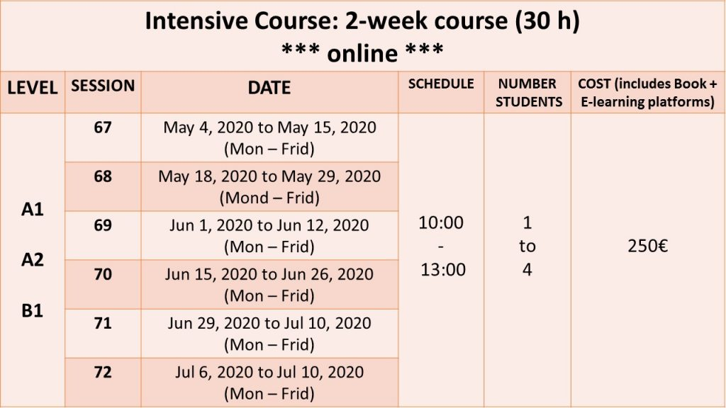INTENSIVE COURSE 2-week course online