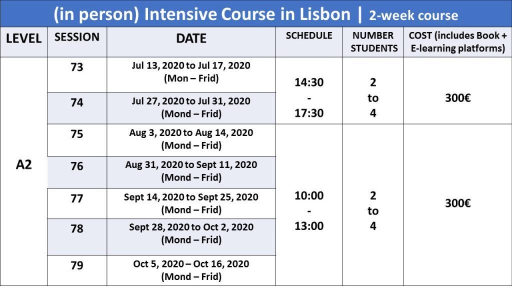 level A2 portuguese course in person