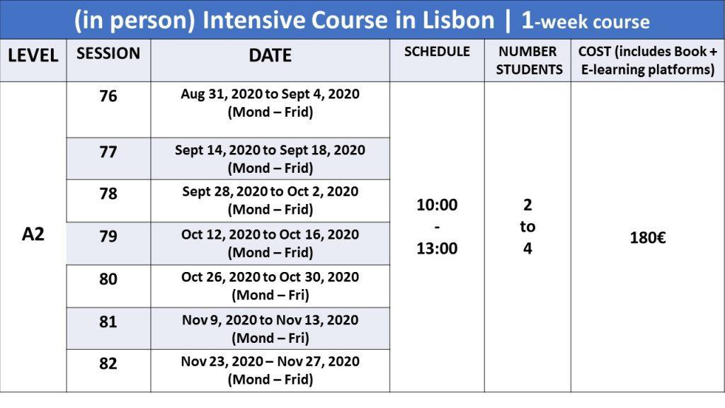 A2 portuguese courses, in person